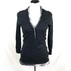 Burberry v-neck sweater with plaid trim